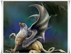 The Altar of the Four Dragons Photo: Story Mythical Creatures Magical Creatures, Fantasy Creatures, Greek Creatures, Griffon Tattoo, Fantasy World, Fantasy Art, Dragons, Legendary Creature, Vampire