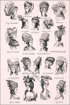 Various Rococo headdresses and hairstyles. Various Rococo headdresses and hairstyles. Mode Rococo, Rococo Style, 18th Century Clothing, 18th Century Fashion, 19th Century, French Rococo, Baroque, Historical Costume, Historical Clothing