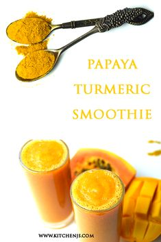 Papaya Smoothie, Turmeric Smoothie, Juice Smoothie, Smoothie Drinks, Smoothie Bowl, Smoothie Recipes, Papaya Juice, Papaya Recipes, How To Make Smoothies