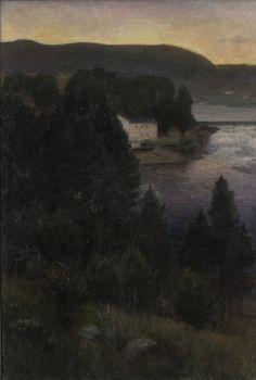 poboh:    Landscape, 1895, Lars Jorde. Norwegin (1865 - 1939)