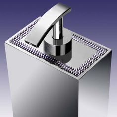 Solid brass soap dispenser embedded with 3 lines of Swarovski crystals, available in chrome or gold plated finish. Bathroom Accessories Luxury, Luxury Soap, Soap Dispenser, Solid Brass, Swarovski Crystals, Sink, Chrome, Classy, Elegant
