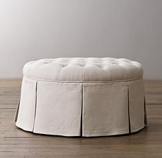 """Classic Round Tufted Upholstered Ottoman - 30"""" round x 17H - $599"""
