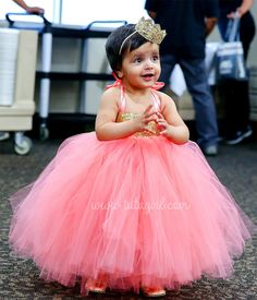 Coral Gold Sequin Girls Dress Flower Girl Tutu Toddler Skirt Baby Birthday