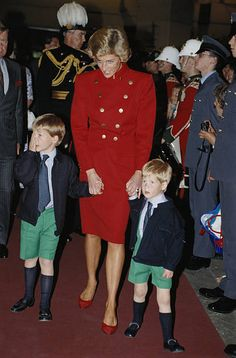 Diana Princess of Wales with her sons Prince William and Prince Harry at the Royal Tournament Earls Court London England Great Britain 28 July 1988