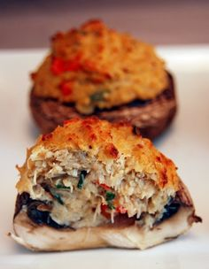 Crab Stuffed Portabella Mushrooms - (Free Recipe below) Mushroom Recipes bella Mushroom Recipes Mushroom Recipes and Mushroom Recipes Seafood Dishes, Seafood Recipes, Appetizer Recipes, Cooking Recipes, Healthy Recipes, Appetizer Ideas, Cajun Recipes, Recipes Dinner, Catering Recipes