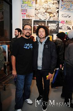 #Graffiti artist Man One with Zach de la Rocha from Rage Against the Machine  @Crewest Gallery 2009 for @Sharpie Show