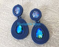 Items similar to Soutache earrings on Etsy Small Earrings, Blue Earrings, Diy Earrings, Crochet Earrings, Handmade Necklaces, Handmade Jewelry, Unique Jewelry, Soutache Tutorial, Gold Bridal Earrings