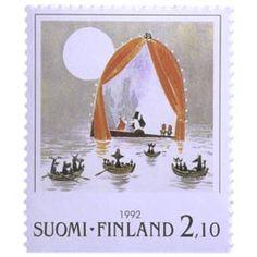 Postimerkki: Muumeja - Tove Jansson, Vaarallinen juhannus | Suomen postimerkit Tove Jansson, Finland, Stamps, Colors, Seals, Colour, Postage Stamps, Stamp, Color