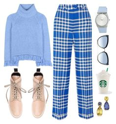"""""""Blue Friday !"""" by piedraandjesus ❤ liked on Polyvore featuring Tory Burch, Jacquemus, ESCADA, Valas and Karl Lagerfeld"""