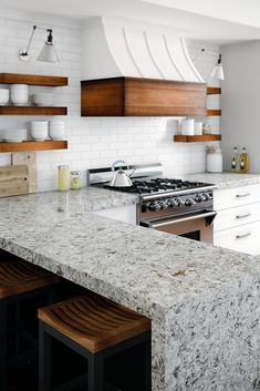 With dynamic movement and earthy tones, these five designs chosen by Scott McGillivray make stunning alternatives for granite countertops. Cambria is more durable, stain resistant, and nonporous than other natural stone countertops. Cambria Countertops, Natural Stone Countertops, Cambria Quartz, Kitchen Countertop Materials, Kitchen Countertops, Granite Kitchen, Diy Kitchen, Kitchen Design, 1960s Kitchen