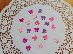 Confetti, cardstock , mixed colour confetti, bow confetti, bow die cuts, pink and purple bow punch outs by PinkyPromiseBargains on Etsy
