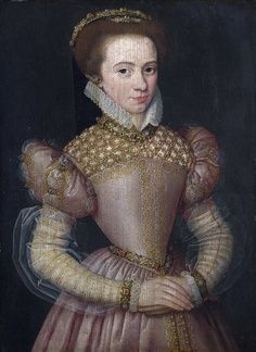 """French (artist unknown). Elizabethan """"Portrait of a Lady"""". Located in National Gallery, London, England. Ca. mid-1570s. It has been suggested at different times that the sitter is the Duchesse D'Angoulême, or Françoise d'Orléans, Princesse de Condé. Oil on oak wood. Image pinned from Pintrest. Historical information from http://www.nationalgallery.org.uk/paintings/french-portrait-of-a-lady."""