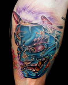 What does oni mask tattoo mean? We have oni mask tattoo ideas, designs, symbolism and we explain the meaning behind the tattoo. Japanese Oni Mask, Japanese Mask Tattoo, Japanese Tattoo Designs, Japanese Tattoos, Oni Mask Tattoo, Hulk Tattoo, Alligator Tattoo, Body Art Tattoos, 3d Tattoos