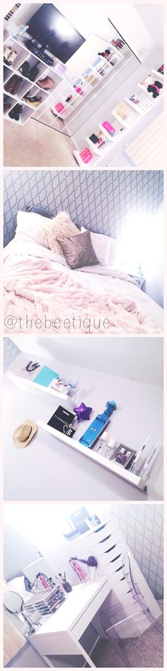 » Flaunting My Glam Boudoir - The Beetique! shabby chic neutral bedroom makeover. white furniture, IKEA lack wall floating shelves + shelf unit, micke vanity desk, alex 9 drawer, shoe display, sequin and faux fur bed accents, louis ghost chair dupe! diva spot!  via thebeetique.blogspot.com