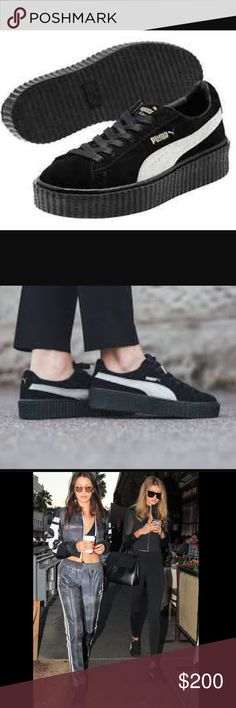 PUMA FENTY BY RIHANNA SUEDE CREEPERS Brand new in box black suede puma fenty's with white trim. As seen on Rihanna and the Hadid sisters. Size 8. Bought at Bloomingdales restock online. I got so lucky to find these and I love them but they are a bit small on me. 100% Authentic comes with velvet dust bag and extra laces. Puma Shoes Athletic Shoes