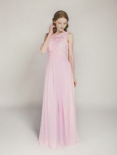 blush floor length chiffon and lace bridesmaid dress swbd008
