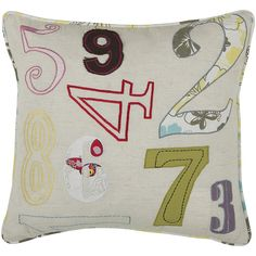 "18"" x 18"" Numbers Pillow - Natural/Lilac Fun DIY for J's big boy room or playrm"