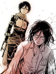 Mikasa & Eren - Shingeki no Kyojin/AoT Attack On Titan Fanart, Attack On Titan Season, Attack On Titan Eren, Attack On Titan Tattoo, Attack On Titan Ships, Mikasa X Eren, Eren Aot, Armin, Manga Anime