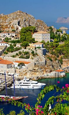 View of Hydra island port, Greece