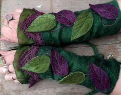 RESERVED for Marley -Folkowl Cuffs - leaf cuffs - Forest Cuffs - Faerie Cuffs - Vintage lace cuffs - Felt Leaves, Fairy Clothes, Lace Cuffs, Medieval Costume, Clothes Crafts, Vintage Lace, Faeries, Gifts For Family, Wool Felt