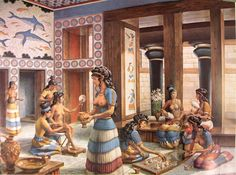 Knossos women in their traditional dresses in Knossos palace playing games Rome Antique, Art Antique, Creta, Greek History, Art History, Ancient Art, Ancient History, Knossos Palace, Minoan Art