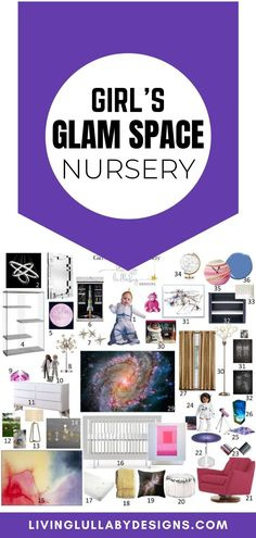 This nursery combines the beauty of space with some wonderful girly glam. It turns out that this new combo is a match made in heaven. The two share bright colors and fun metallics, with a great modern feel. This room brings the mysteries of deep space right into your little girl's bedroom. #kidsroom #bedroomdecoration #kidsroominterior #moms #nurseryroom #homedecoration #livingroom #designs #babyfashion #babybooks #livinglullabydesigns Nursery Room, Baby Room, Nursery Decor, Little Girl Rooms, Little Girls, Ballerina Art, Deep Space, Nursery Design, Kidsroom