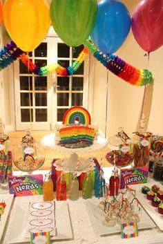 A Rainbow Themed Birthday Party Dessert Table