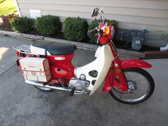 """I love the """"Adventure Touring"""" style look of this build! Here is my 81 passport I turned into a Cub Relocated the turn signals in the front and rear, small Honda tail light and … Honda Passport, Honda Cub, Scooter Girl, Tail Light, Custom Bikes, Cars And Motorcycles, Cubs, Touring, Side Saddle"""