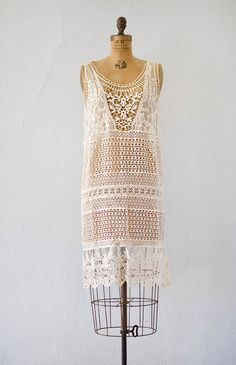 vintage inspired ivory crochet flapper dress