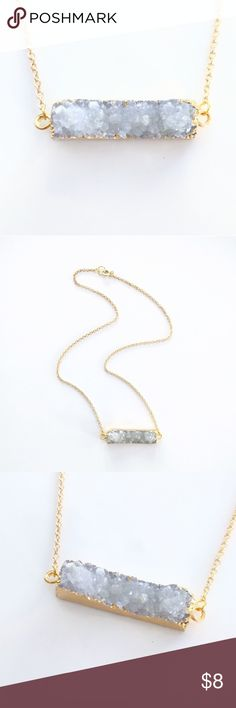 "Gold-plated genuine agate druzy bar necklace Closet closing clearance!  All prices are firm; no additional offers accepted.  I'm earning no profits, just liquidating everything before moving abroad.  Nickel-free chain measures about 19.5"". Jewelry Necklaces"