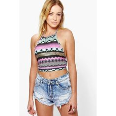 Boohoo Victoria Aztec Halter Crop Top (€5,36) ❤ liked on Polyvore featuring tops, multi, white long sleeve top, white crop top, basic white t shirt, flat top and ribbed crop top