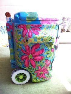 painted trash can art - Google Search