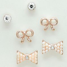 Bow Earring Set in Rose on Emma Stine Limited