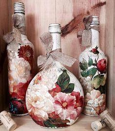 Decoupage bottles Más