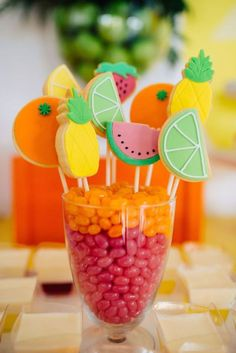 Tutti Frutti Kids Birthday Party - Style Me Pretty Mike and ike Living Aloha Party, Luau Party, Party Summer, Summer Food, Summer Fruit, Fruit Birthday, 2nd Birthday Parties, Birthday Ideas, Flamingo Party