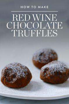 How to Make Red Wine Chocolate Truffles (aka the World's Most Perfect Dessert) via @PureWow