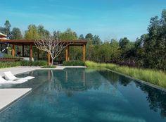 Área de lazer | O quintal é abraçado pelo bosque de eucaliptos do condomínio. A piscina com borda infinita, revestida com pedra Hijau da Palimanan, faz um belo contraste com as espécies do jardim. As espreguiçadeiras são da Living Divani (Foto: Iuri Seródio/Divulgação)