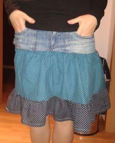 Upcycling-Stufenrock aus einer alten Jeans und neuem Stoff (inspiriert vom Stufenrock Linda von Pattydoo, Schnittmuster, nähen)