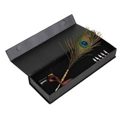 BQLZR Retro Antique Dip Pen Colorful Queling Peacock Feather Quill Pen Set With…