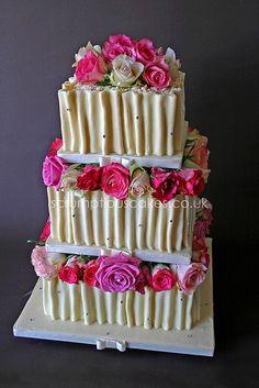 Wedding Cake - White Chocolate Ruffles & Fresh Roses by Scrumptious Cakes (Paula-Jane), via Flickr