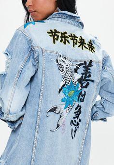 Missguided - Blue Embroidered Dropped Shoulder Denim Trucker Jacket