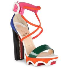 Christian Louboutin Atletika 140 Colorblock Crisscross Sandals (18,565 MXN) ❤ liked on Polyvore featuring shoes, sandals, ankle strap sandals, open toe sandals, ankle strap platform sandals, high heel platform shoes and platform shoes