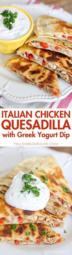 Italian Chicken Quesadillas with Greek Yogurt Dip #ad @sargentocheese #ChoppedatHome