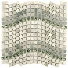 "Sierra 0.563"" x 0.563"" Glass, Natural Stone and Metal Mosaic Tile in Wave Mercury"
