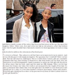 """:: Jada Pinkett-Smith & Willow :: There is so much more to """"appearance"""" than what others judge. A mom and daughter in the public eye have a platform from which to engage ideas.Good on ya!"""