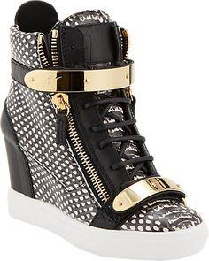 Giuseppe Zanotti Snake-Stamped Wedge Zip Sneakers - Sneakers - Barneys.com  High Top 7fa35a4b762f