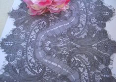 Hand Dyed 13 Wide Gray Grey Floral Nylon Lace Trim by AnnasDream