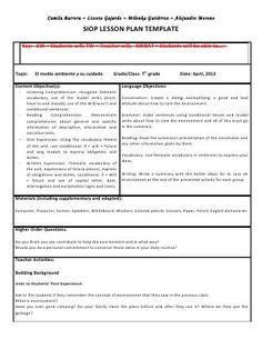 Siop unit lesson plan template sei model | jitha | Pinterest ...