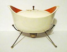 Mid-Century Chafing Dish ceramic cream orange by rubyinthesky