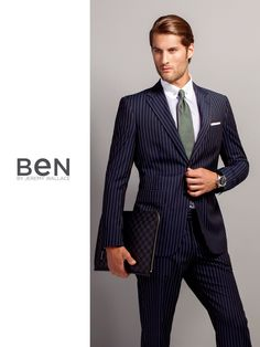 Ben by Jeremy Wallace navy pinstripe suit and club pincollar shirt